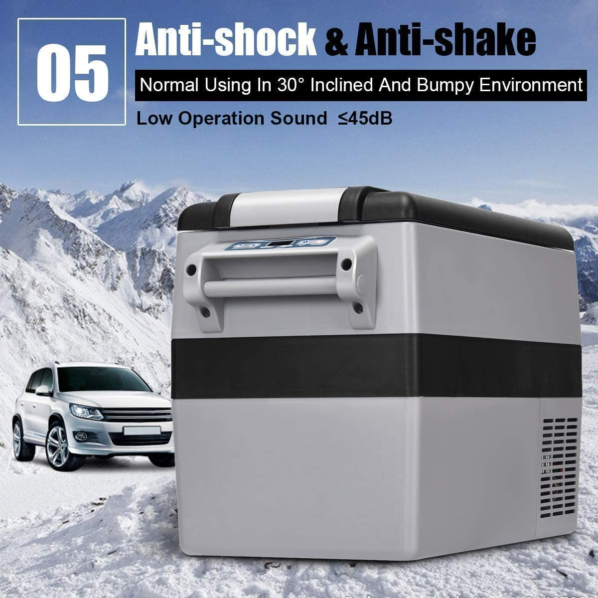COSTWAY Car Refrigerator, 44 Quart Compressor Cooler and Freezer, -4 F to 50 F, Portable and Compact Vehicle Car Fridge, for Car, Home, Camping, Traveling