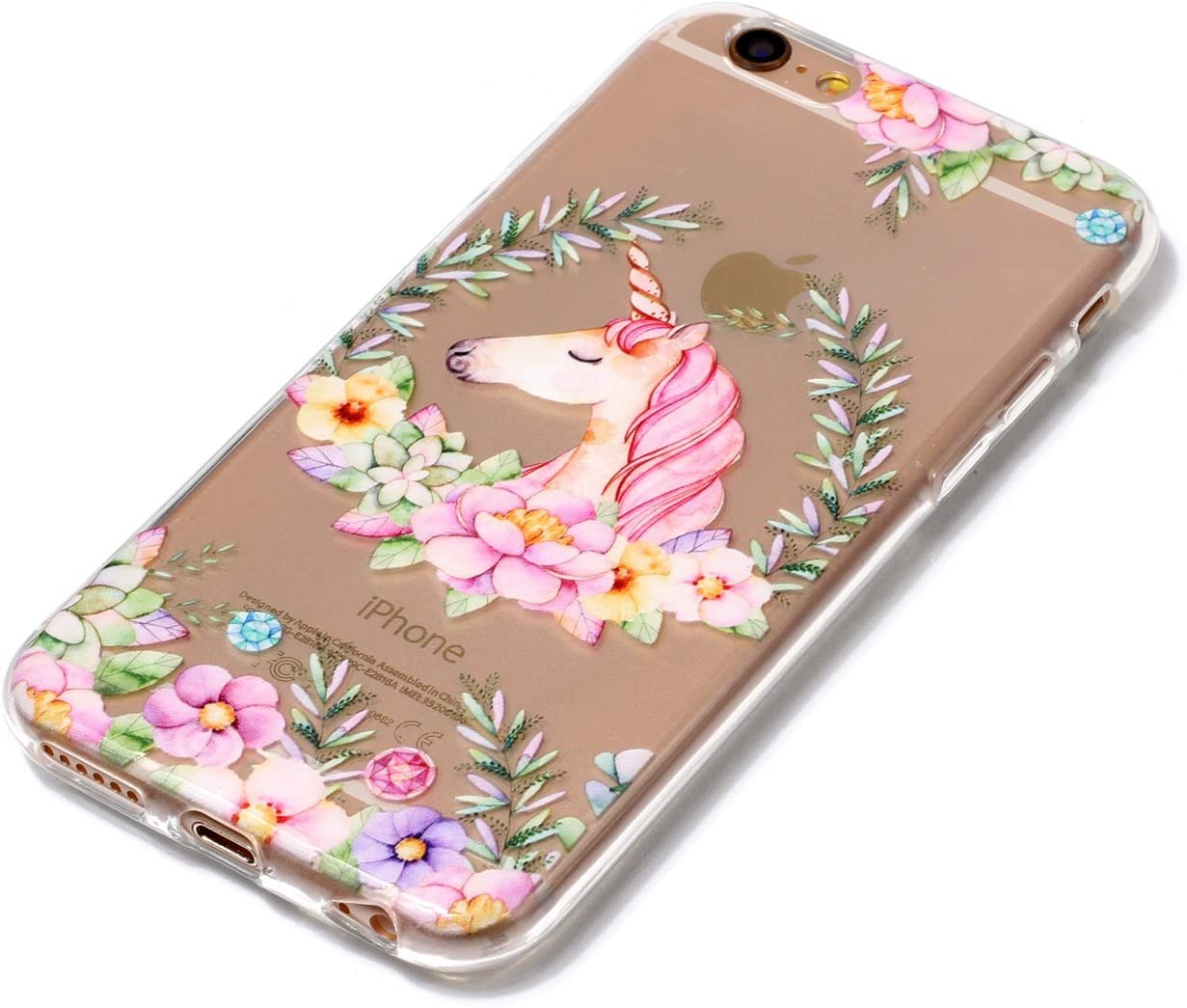 Shock Absorption Scratch Resistant TPU Skin Silicone Full-body Protective for Apple iPhone 6 6S iPhone 6 6S Case Peach blossom Fashional Soft Transparent Slim Thin