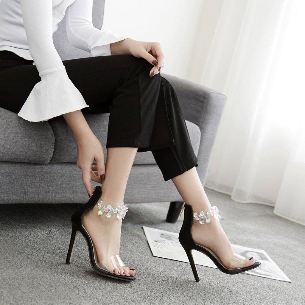 ALUK- Damenschuhe - europäische und amerikanische amerikanische und Mode / High Heels / sexy Sandalen / Strass transparente Frauenschuhe ( Farbe : Schwarz , größe : 35-Schuhes long225mm ) Schwarz 80129b
