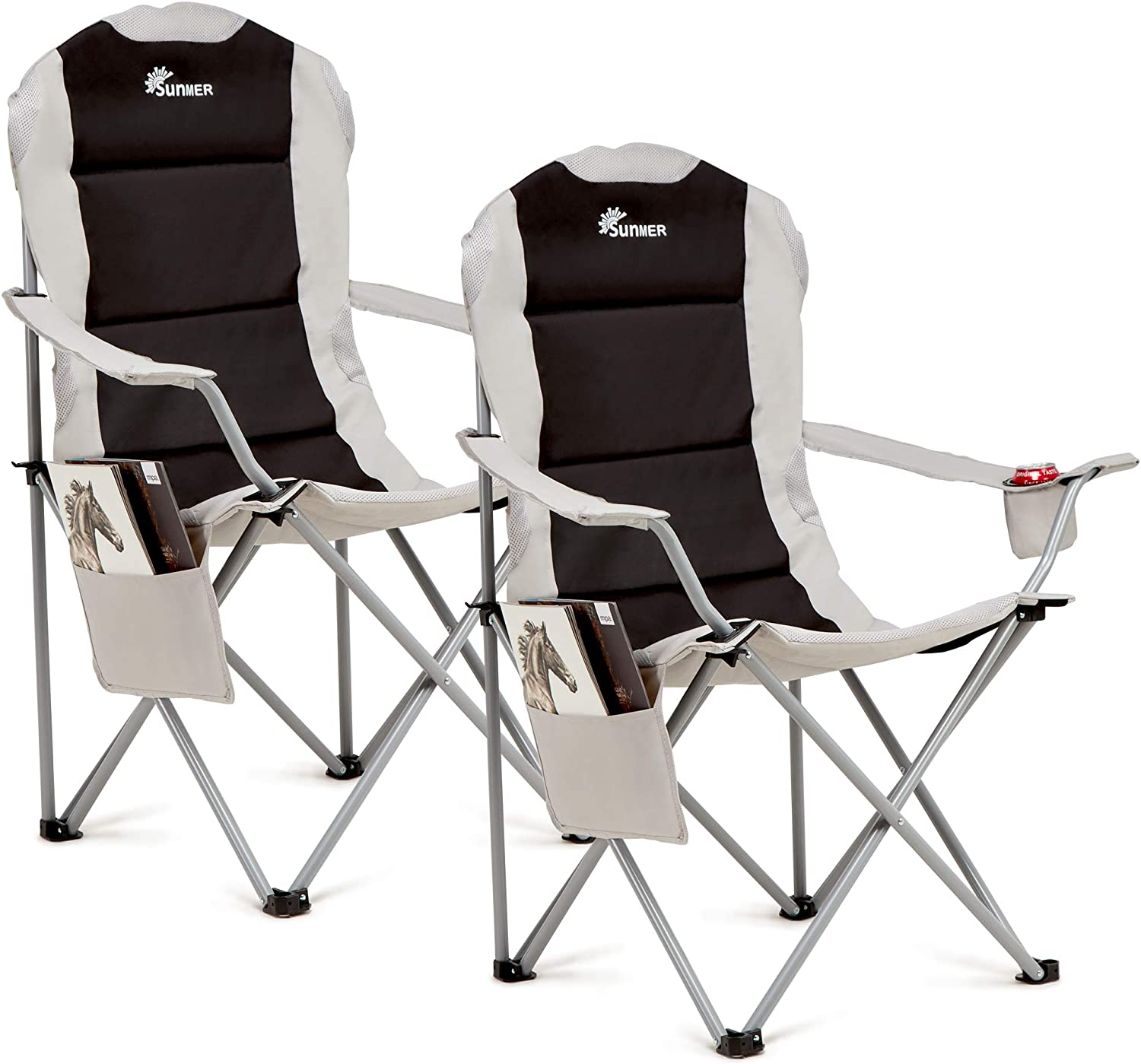 SUNMER Set Of 2 Folding Deluxe Padded Camping Chairs With Cup Holder And Side Pocket Black & Grey