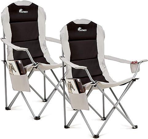 SUNMER 2 sillas de Camping: BK/GY, plegadas 99 cm x 15 cm x 14 cm. Dimensiones montadas: 60 cm x 58 cm x 110 cm. Peso: 3,3 kg por Silla.