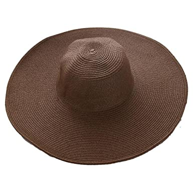 04eb2ba611a538 Image Unavailable. Image not available for. Color: Fashion Women's Ladies' Foldable  Wide Large Brim Floppy Summer Sun Beach Hat Straw ...