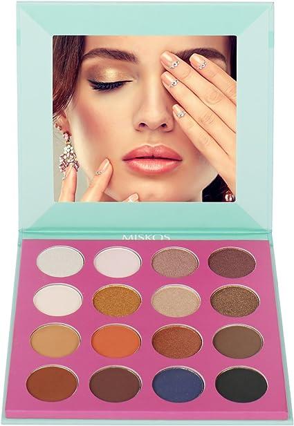 miskos 16 Kit de maquillaje de ojos desnudos paleta de sombra de ojos tierra cálida sombra de ojos ahumado, muy pigmentado Shimmer Mate de color: Amazon.es: Belleza