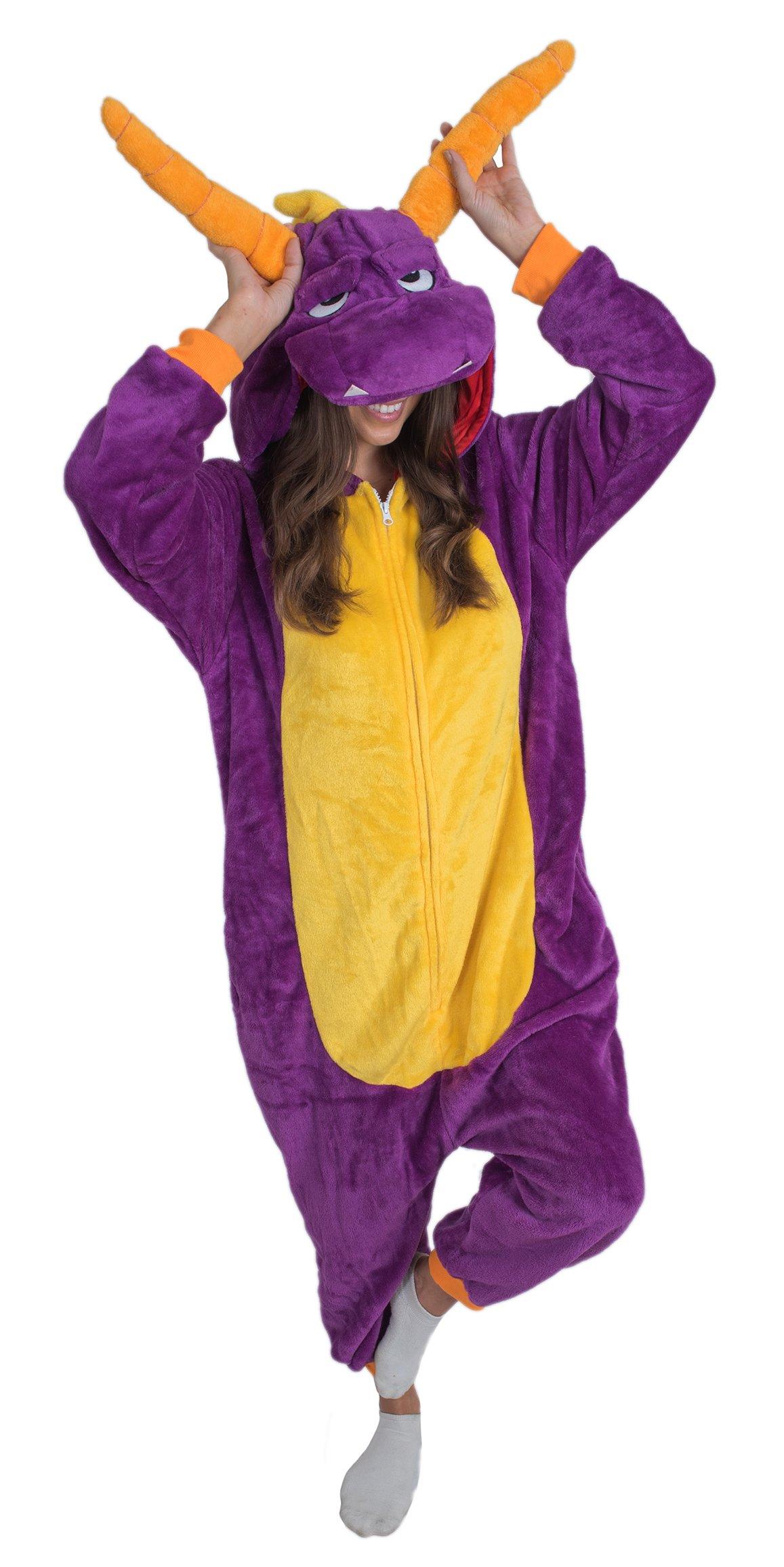 Bad Bear Brand Adult Onesie Dragon Kigurumi Pajamas (Medium, Purple Plush)