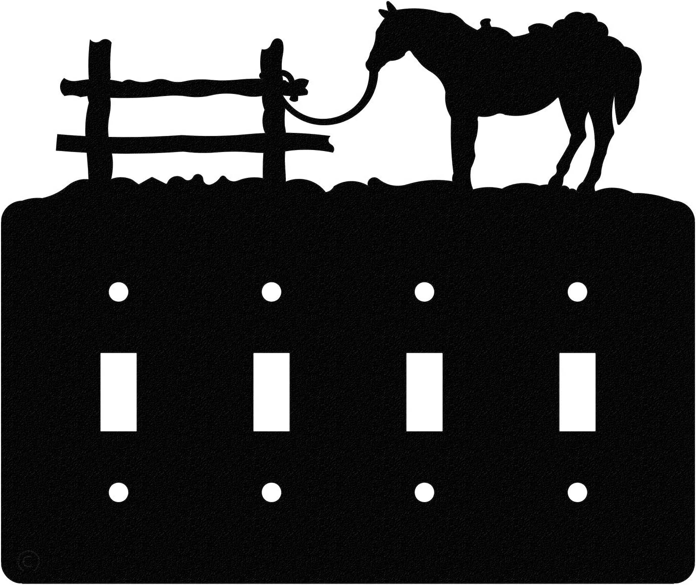 Innovative Fabricators, Inc. Tethered Horse Quadruple Toggle Light Switch Wall Plate