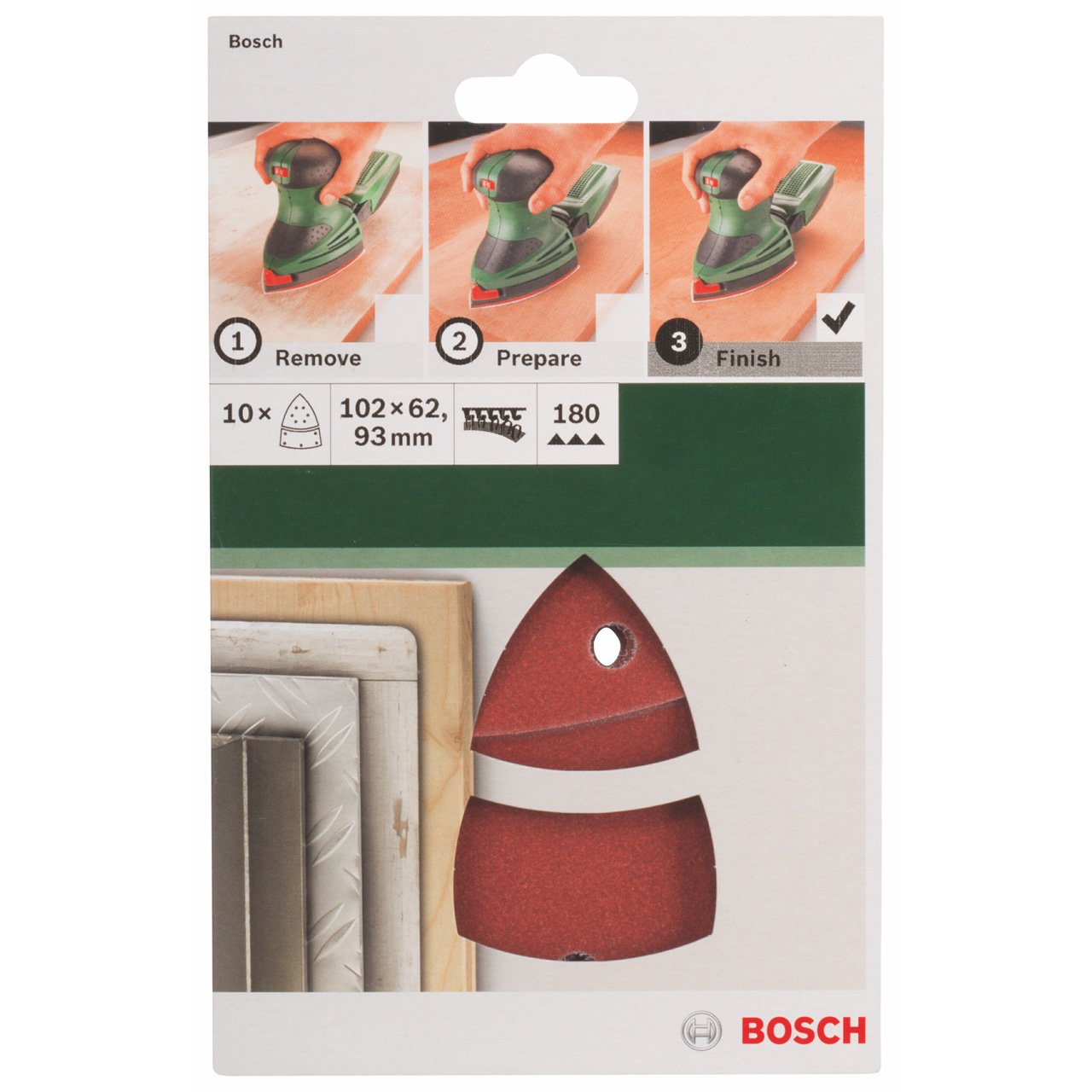 Bosch 2609256A62 Sanding Sheets for Orbital Sanders 102 x 62.93 cm Number of Holes 11 Grit 60 Multi-Purpose Pack of 10