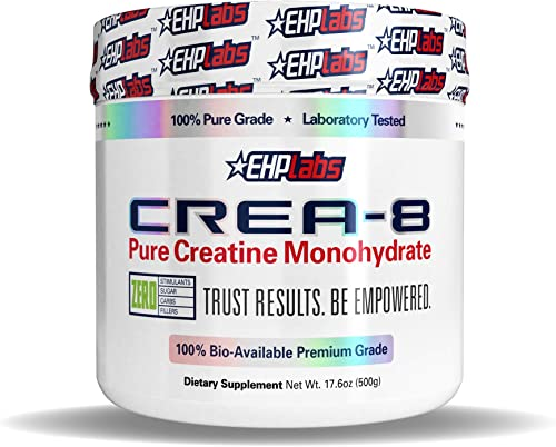 EHPLabs CREA-8 Creatine Monohydrate 500g Builds Lean Muscle Mass, Improves Strength Power, Speeds Up Recovery Times – 100 Servings