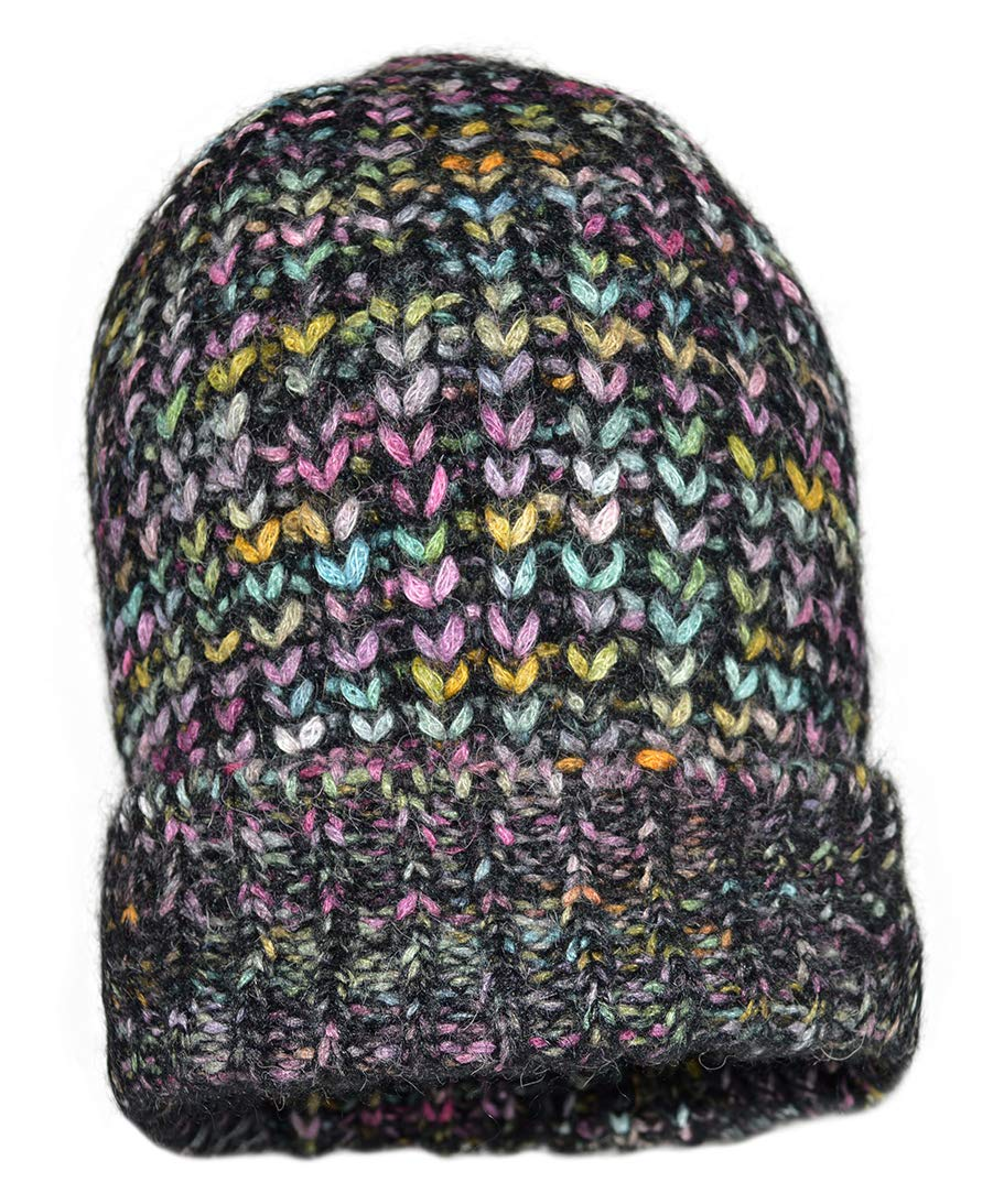 Invisible World Women's Alpaca Cap Inkasign Space Dyed Hat Black