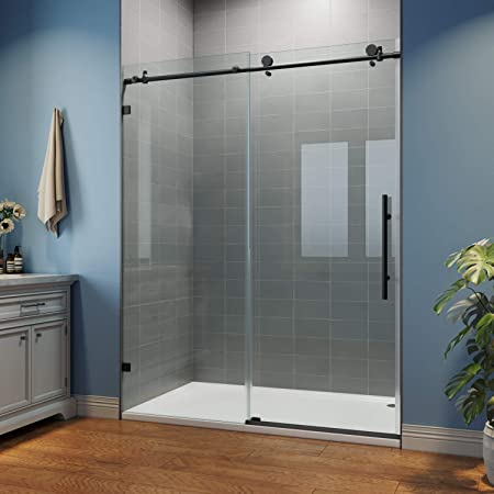 Sunny Shower Glass Door Sliding Shower Enclosure With 3 8 In Clear Glass Stainless Steel Hardware 60 In W X 76 In H Black Frameless Shower Door Amazon Com