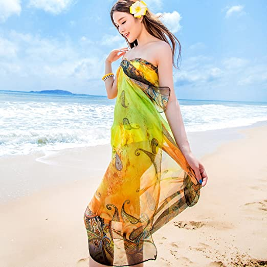 GERINLY Chiffon Sarong Wrap Paisley Pattern Print Oversize Beach Cover Up Rose