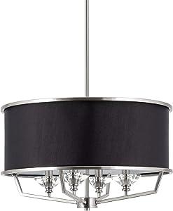 "Kira Home Campbell 20"" 4-Light Modern Drum Chandelier + Black Fabric Shade, Adjustable Height, Brushed Nickel Finish"