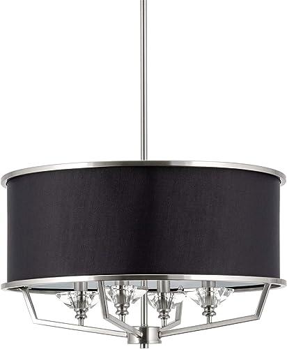 Kira Home Campbell 20″ 4-Light Modern Drum Chandelier Black Fabric Shade