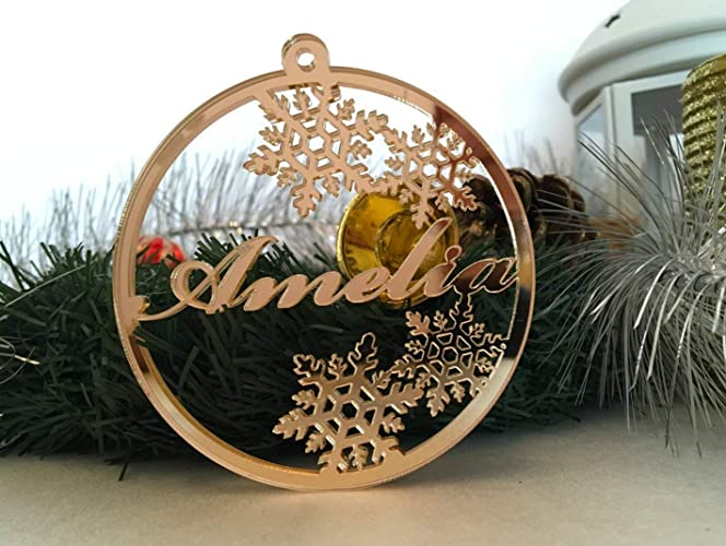 Personalized Christmas Ornament Laser Cut Bauble Custom Name Baubles Babys First Christmas Xmas Gifts For Family Gold Silver Acrylic Wooden Tree
