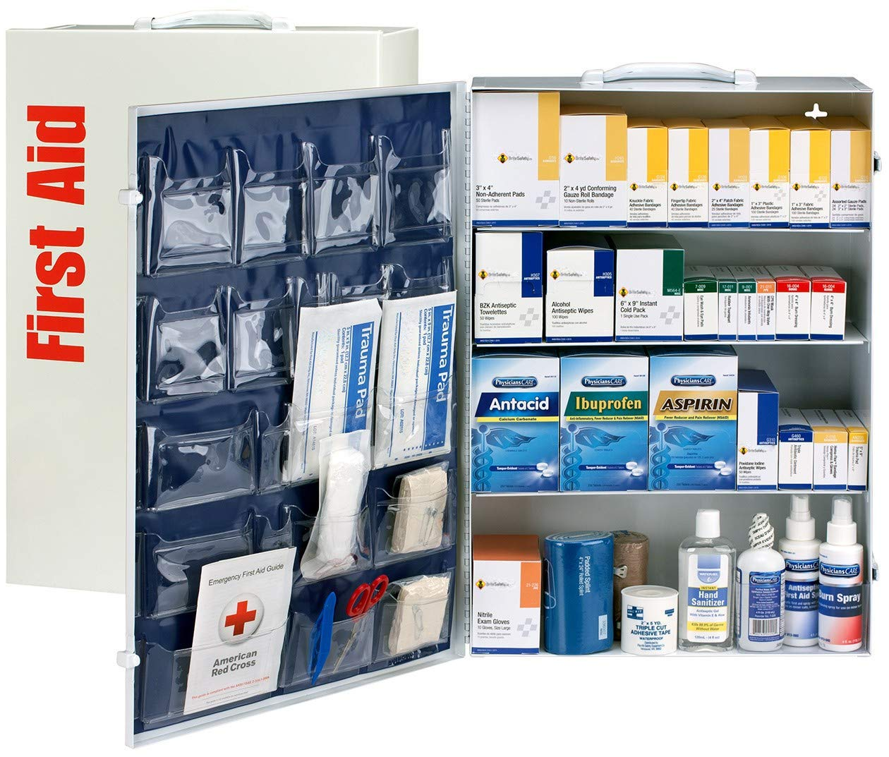 150 Person 4 Shelf First Aid Metal Cabinet, ANSI B+, Type I & II with Medication - OSHA Compliant 2018 Trauma Kit First Aid Kit for Businesses Emergency Kit