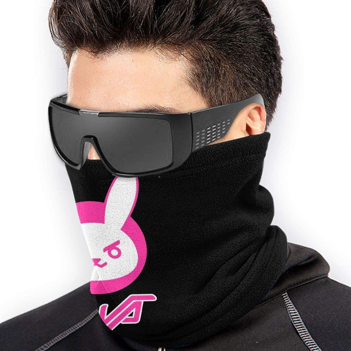 Unisex Windproof and Dustproof Neck Warm Scarf Overwatch Dva Bunny Logo Original Casual Customization Black