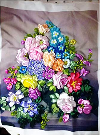 3D Framework Embroidered ribbons picture Wall decor Fiberart Wall hanging Ribbon Work Flowers Peonies Floral Painting