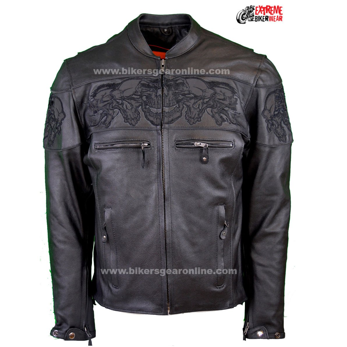 Dream Men's Motorcycle Riding Blk Reflective Skull Leather Jacket Big Sizes Upto 10xl (6XL Regular) by Dream (Image #2)