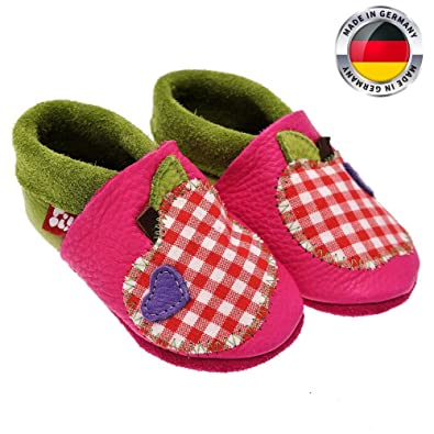 fb1cc48114b0 POLOLO ® Handmade 100% Organic Leather Baby Shoes Pink Apple Toddler  Prewalkers Infant Slippers Made