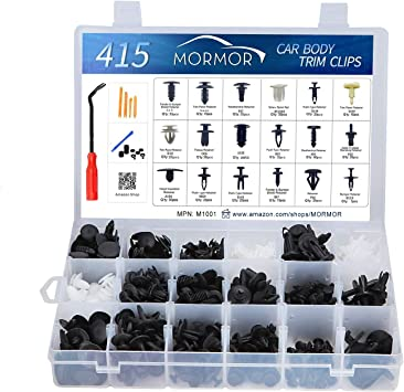 MORMOR M1001 415 Pcs Car Retainer Clip with Fastener Remover Tool Kit Auto Push Pin Rivet Trim Clip Panel Body Interior Assortment Set Fits for GM Ford Toyota Honda Chrysler