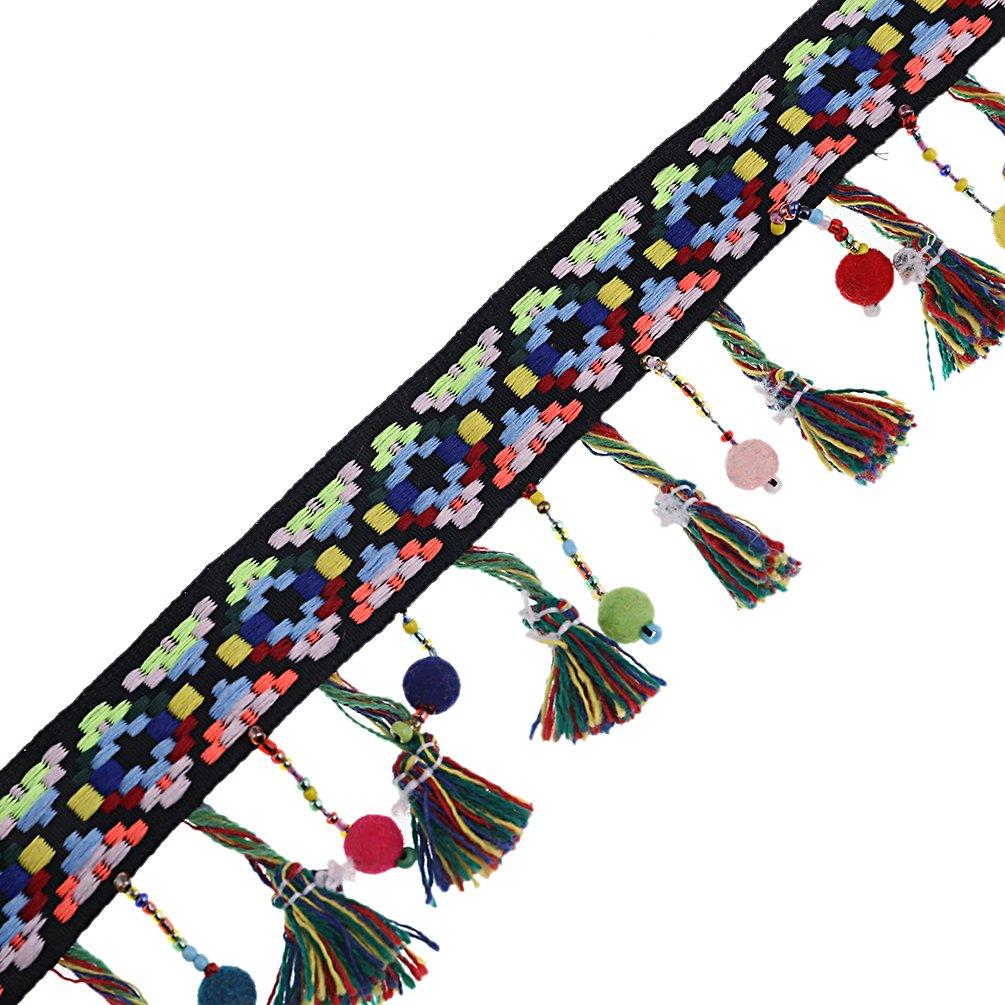 Kesheng 2 Yardas Cinta de Borlas de Colores Arco Iris de Fleco para Costura DIY