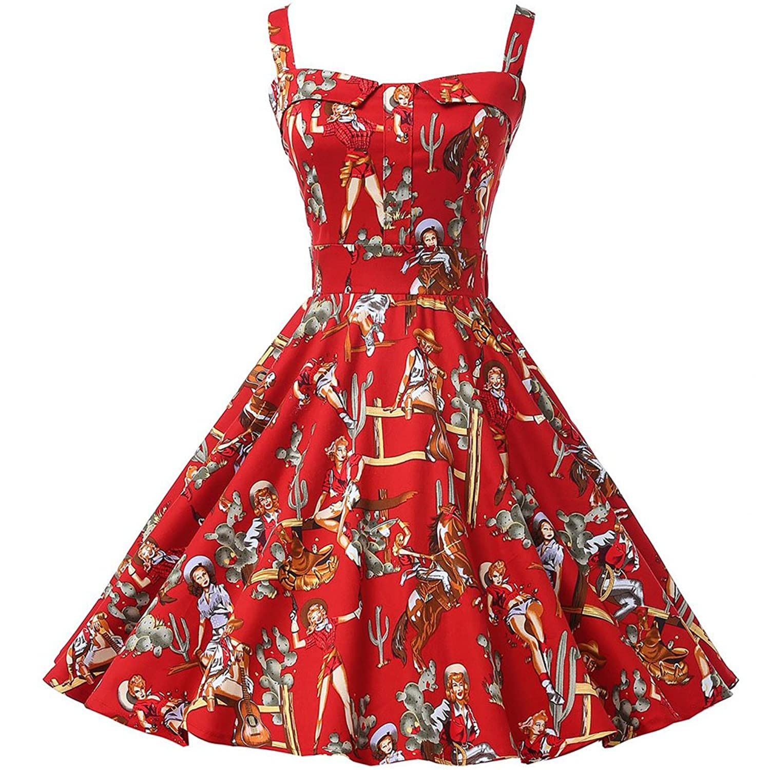 PTU1818 Womens Vintage 1950s Cotton Sleeveless Swing Rockabilly Cocktail Party Dress Red