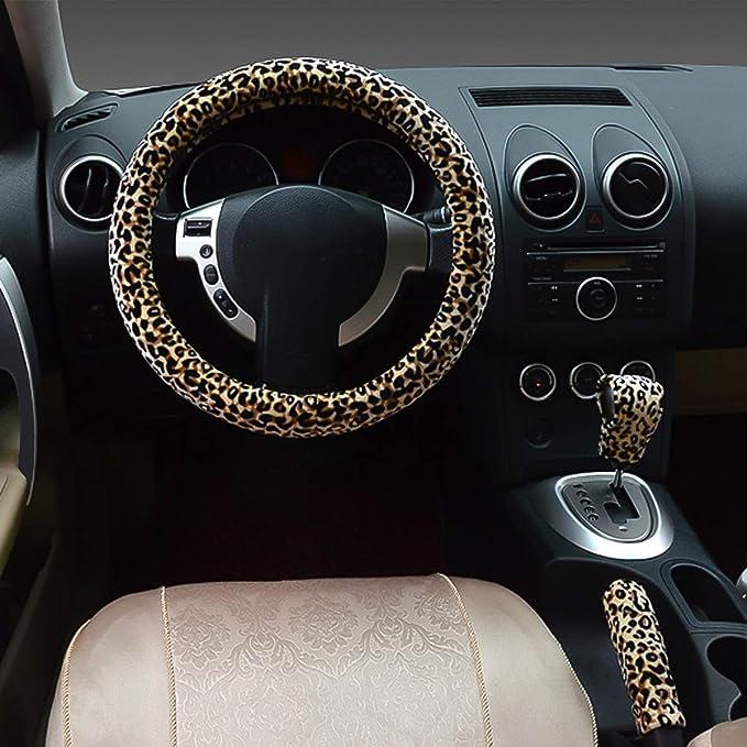 Ergocar 2019 Leopard Print Car Steering Wheel Cover Non-slip Car Steering Wheel Protector 38cm White Microfiber Flannel 15