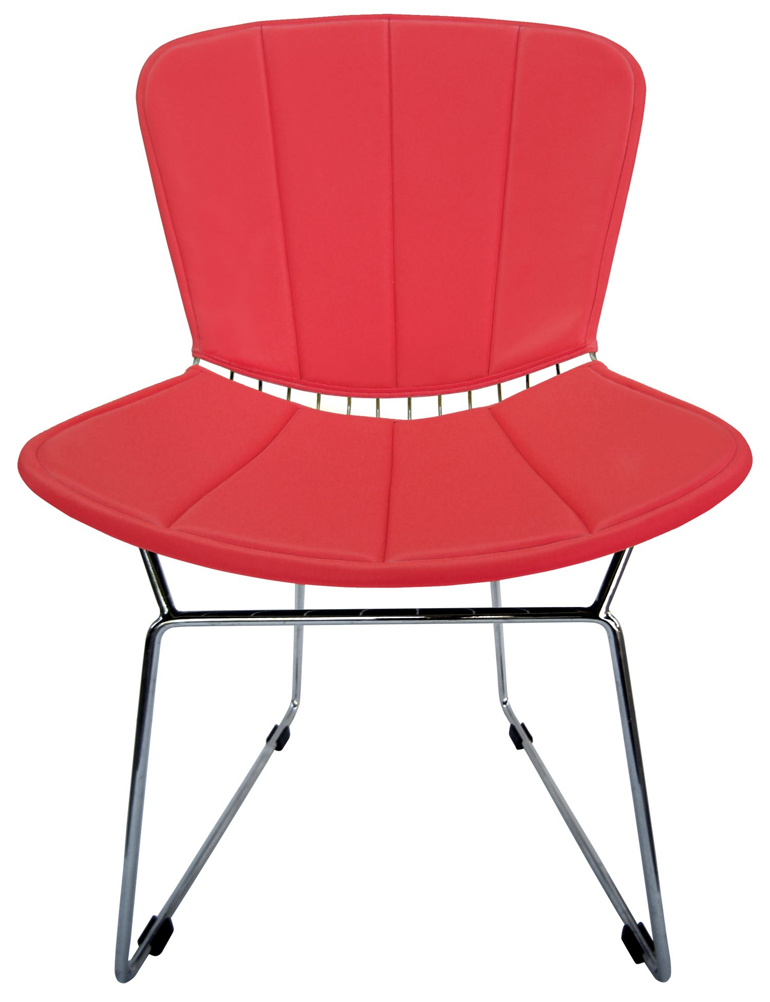 Full Cushion and Back Pad for Bertoia Side Chair - Vinyl - Fits Original or Reproductions (Red) by Walbea Retro
