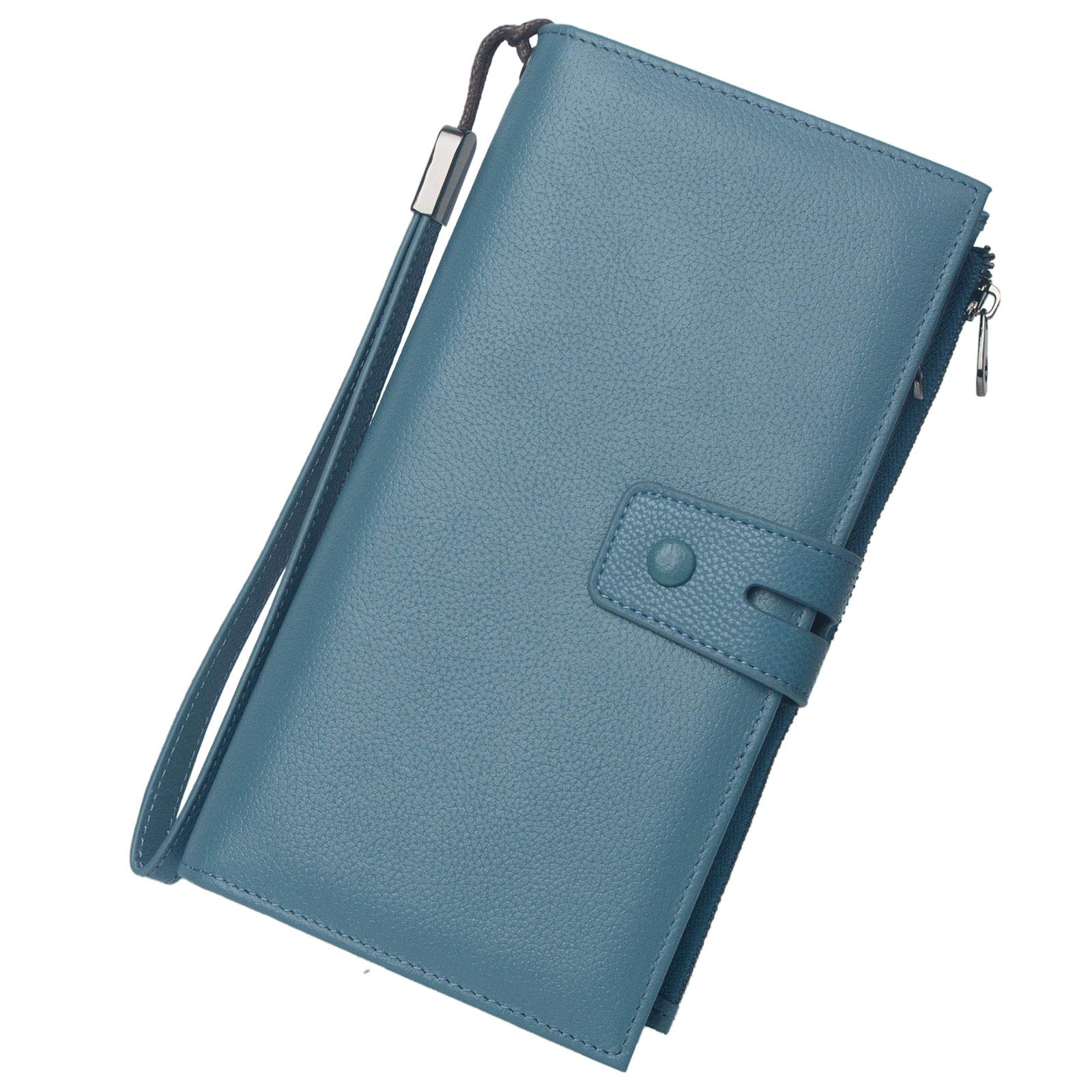 Rfid Blocking Travel Wallet Leather Passport Holder Family Travel Document Organizer (Lake Blue) by Bveyzi
