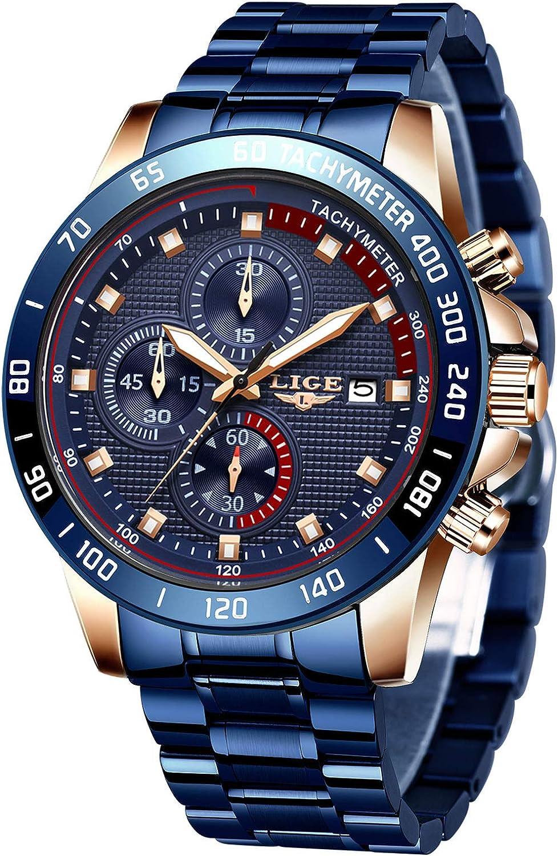 LIGE Reloj para Hombre Cronógrafo Correa de Acero Inoxidable Impermeable Deportivo Negocio Casual Negro para Caballero…