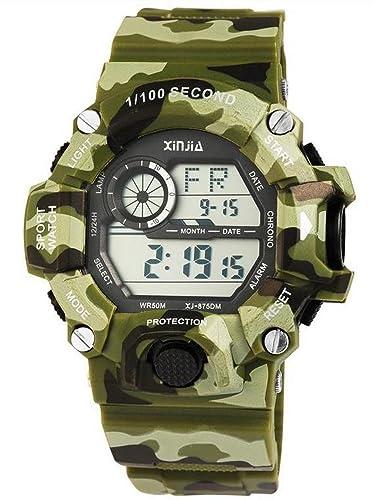 Digital XXL Militar Deportes reloj de pulsera reloj de hombre multifuncional camuflaje Impresión Color Verde Oliva: Amazon.es: Relojes