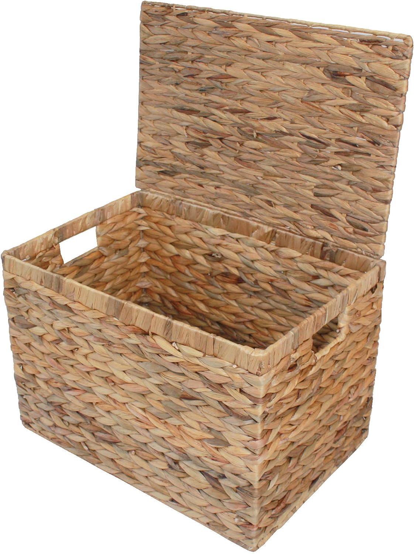 Medium Home-ever Water Hyacinth Lidded Storage Chest Basket Box HE79