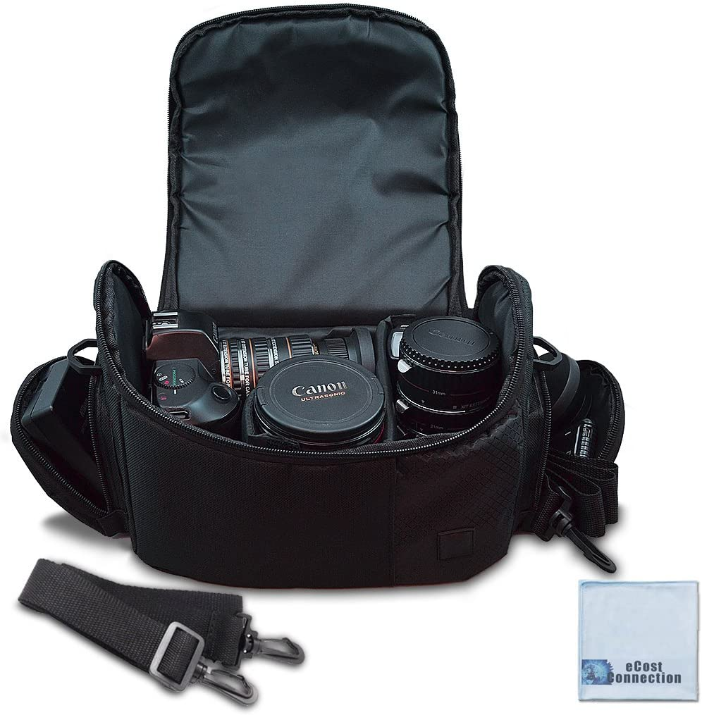 Large Digital Camera / Video Padded Carrying Bag / Case for Nikon, Sony, Pentax, Olympus Panasonic, Samsung, and Canon DSLR Cameras + eCostConnection Microfiber Cloth : Camera & Photo