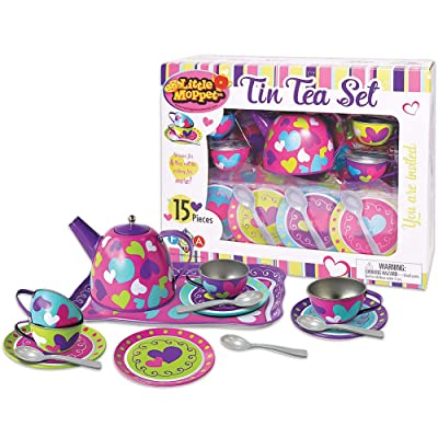 Little Moppet Pretend Tin Tea Fifteen Piece Playset: Toys & Games
