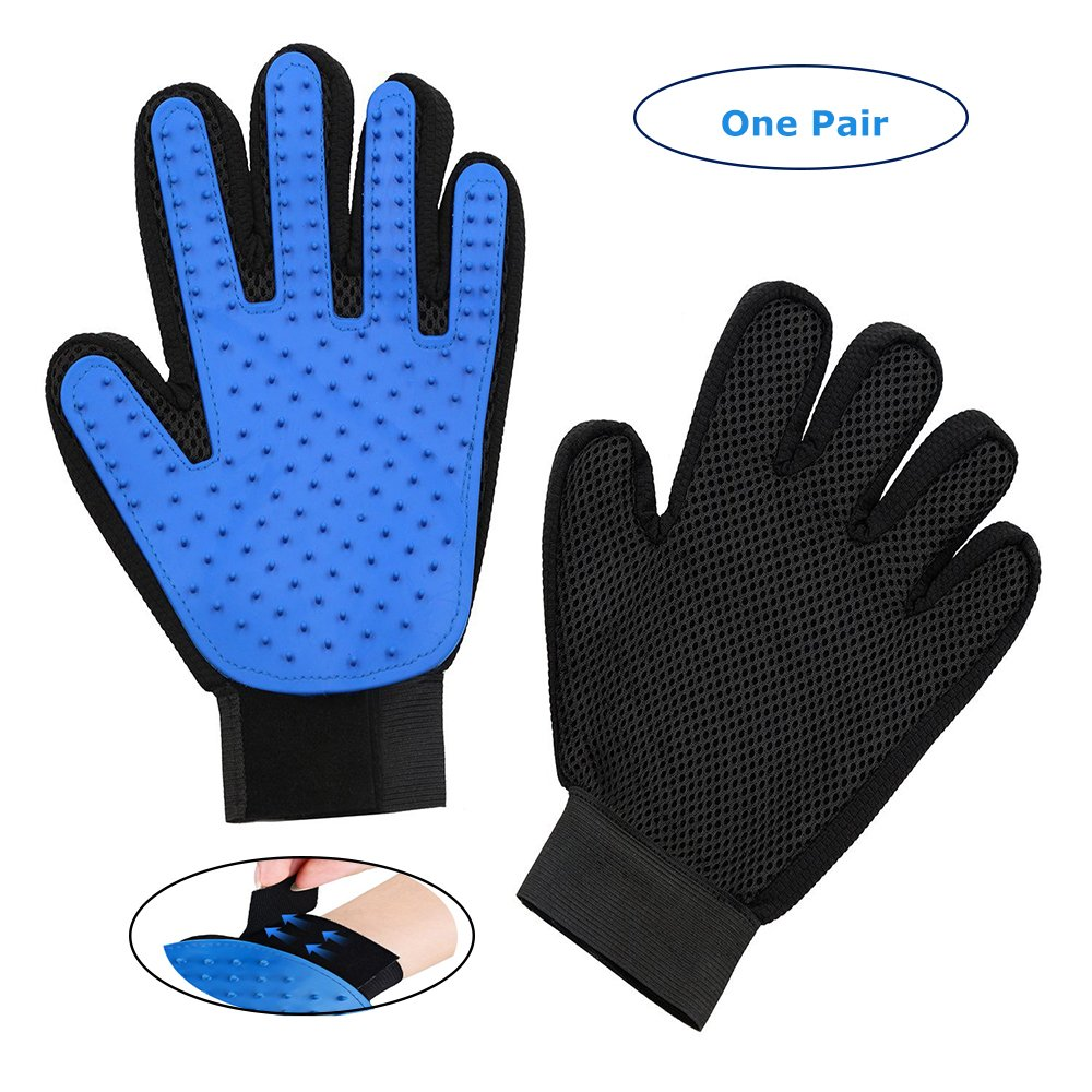 Blue Pet Glove Groomig comb Efficient Hair Remover Mitt Gentle Deshedding Brush Tool With Five Finger Design True Touuch Massage Bath gloves Perfect For Dogs and Cats with Long or Short Fur(One Pair)