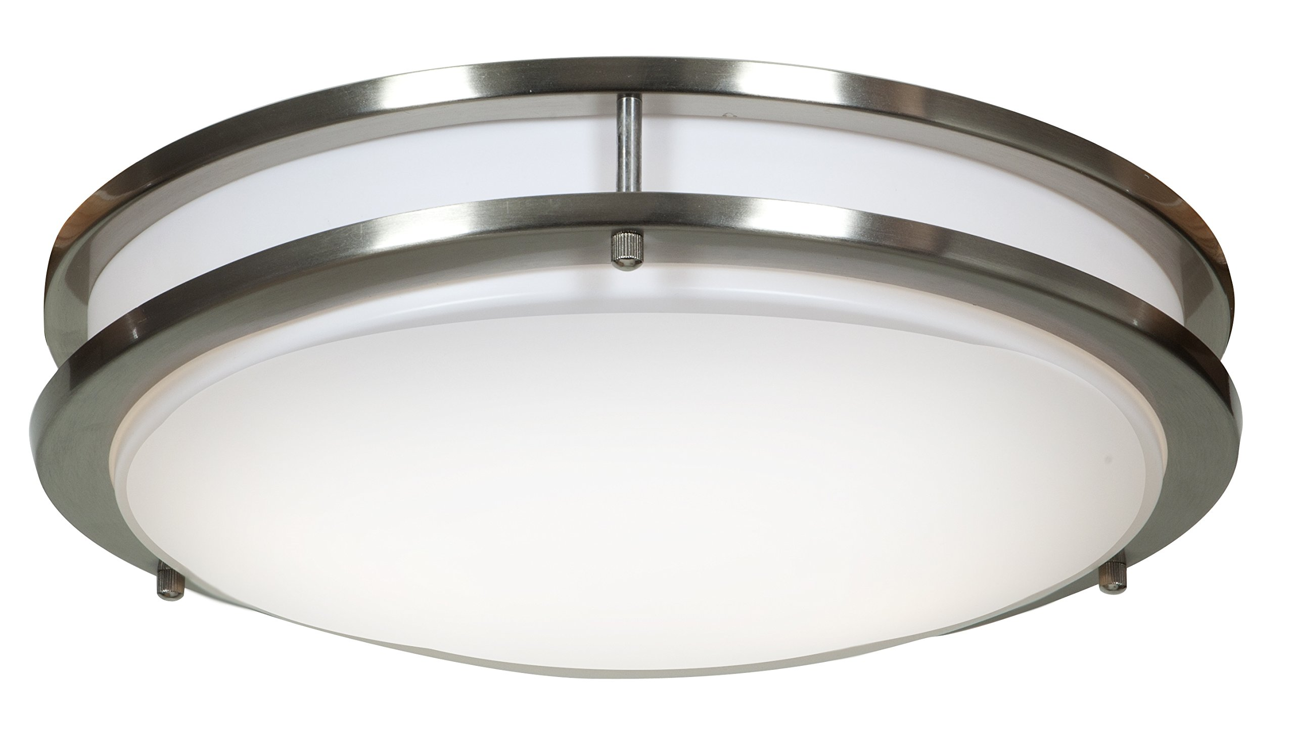 Solero Flush Mount - LED - 14''D - Brushed Steel Finish - Acrylic Lens Diffuser