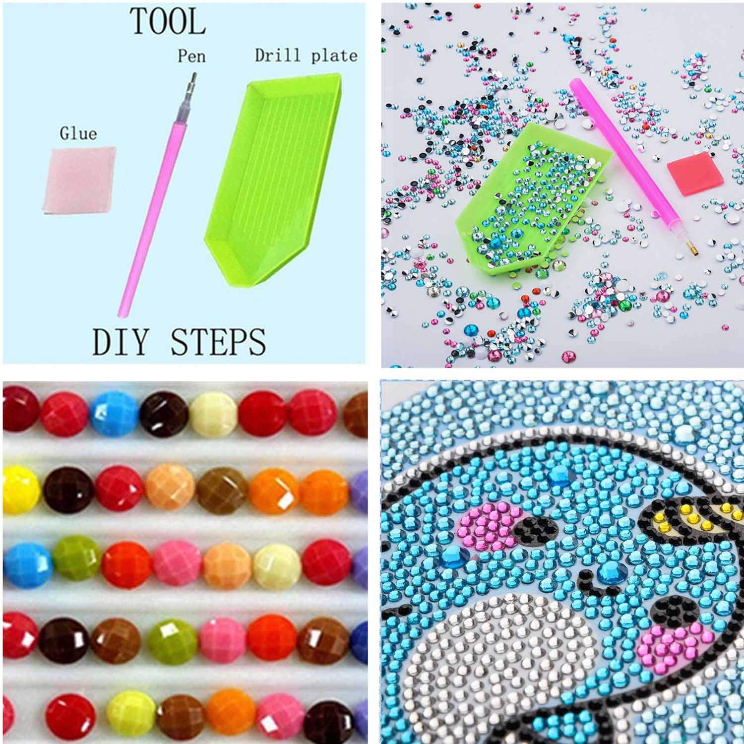 FIGHTA 5D Diamond Painting Kits for Kids Full Drill Painting by Number Kits for Children Rhinestone Diamond Embroidery Home Wall Decor Pony