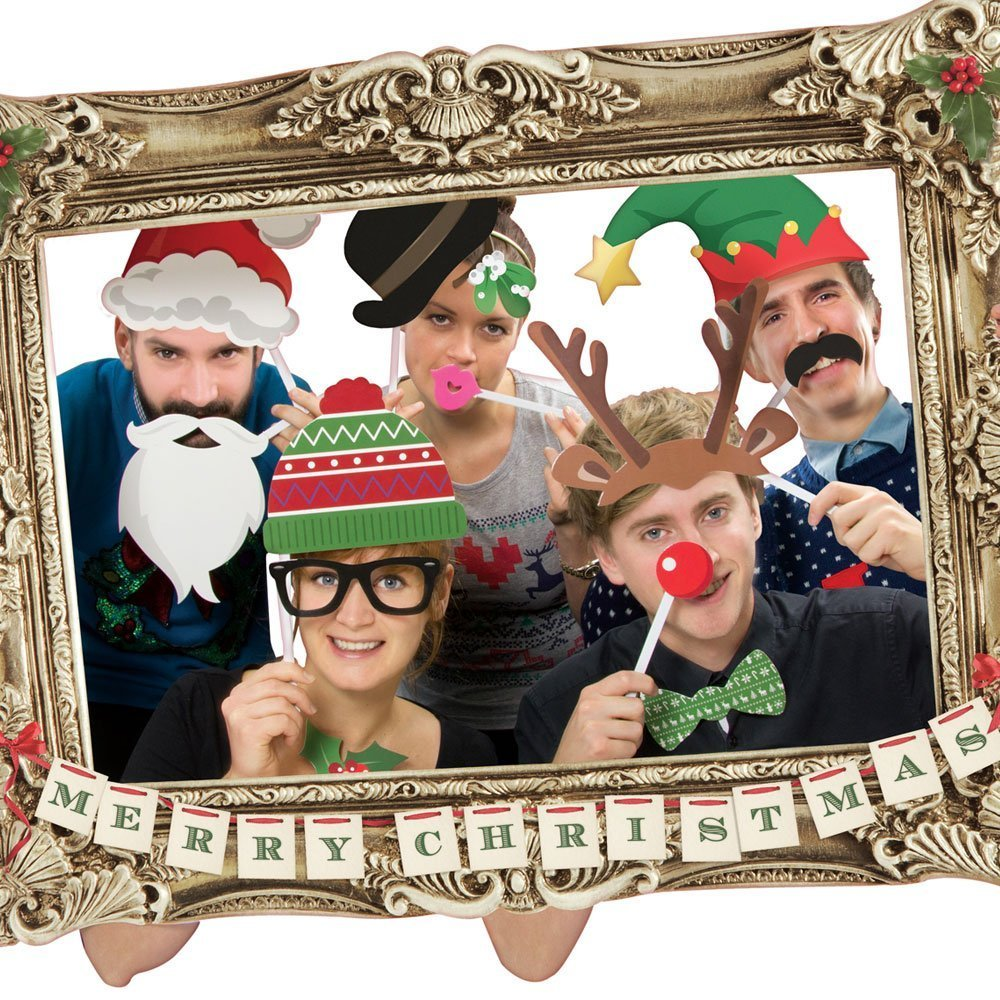 Amazon.com: Festive Photo Booth Props with Card Frame: Toys & Games
