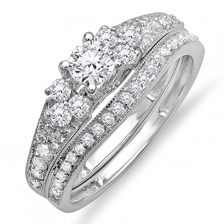 1.00 Carat (ctw) 14K White Gold Round Diamond Ladies Bridal Ring Engagement Ring Set 1 CT