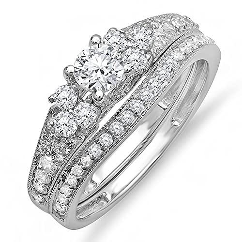 1.00 Carat (ctw) 14K White Gold Round Diamond Ladies Bridal Ring Engagement Ring Set 1 CT