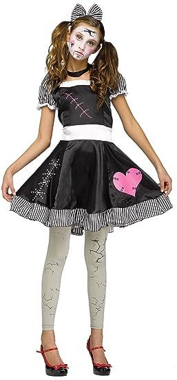 uhc teen girls broken doll scary theme party fancy dress halloween costume teen 0