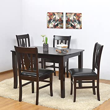 f956d8f4e63  home by Nilkamal Malmo Four Seater Dining Table Set (Brown)  Amazon.in   Home   Kitchen