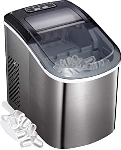 Bossin Countertop Ice Maker PortableIce MakingMachine-BulletIce Cubes Ready in 6Mins - Makes 26 lbs Ice in 24 hrs - Perfect for Home/Office/Bar2 Qt. Water Tank (Classic Stainless Steel)