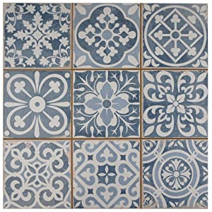 "SomerTile FPEFAEA Romania Ceramic Floor and Wall Tile, 13"" x 13"", Blue"