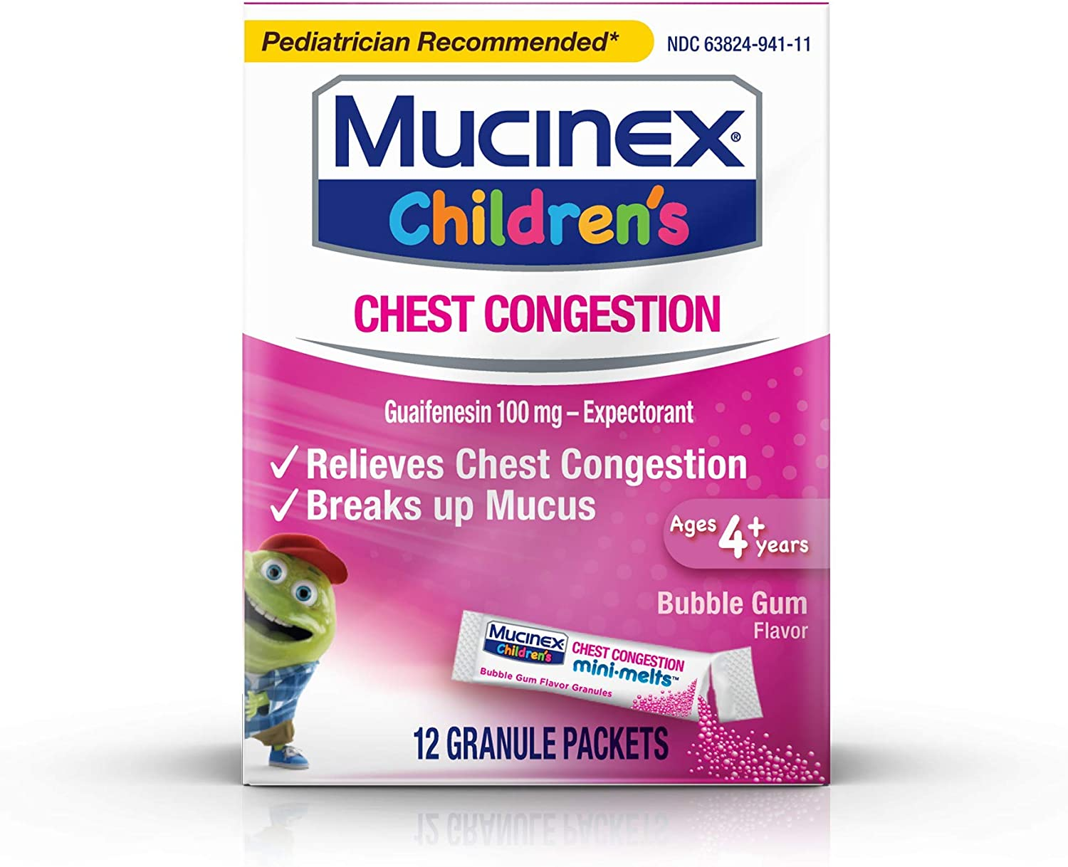 Chest Congestion Mucinex Children S Mini Melts Chest Congestion Bubble Gum 12ct Packaging May Vary