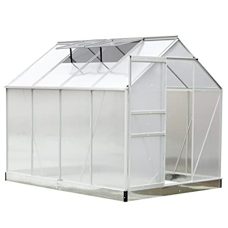 Outsunny Serre de Jardin Aluminium Polycarbonate 9,74 m³ 2,5L x 1,9l x  2,05H m avec Fondation fenêtres Porte coulissante