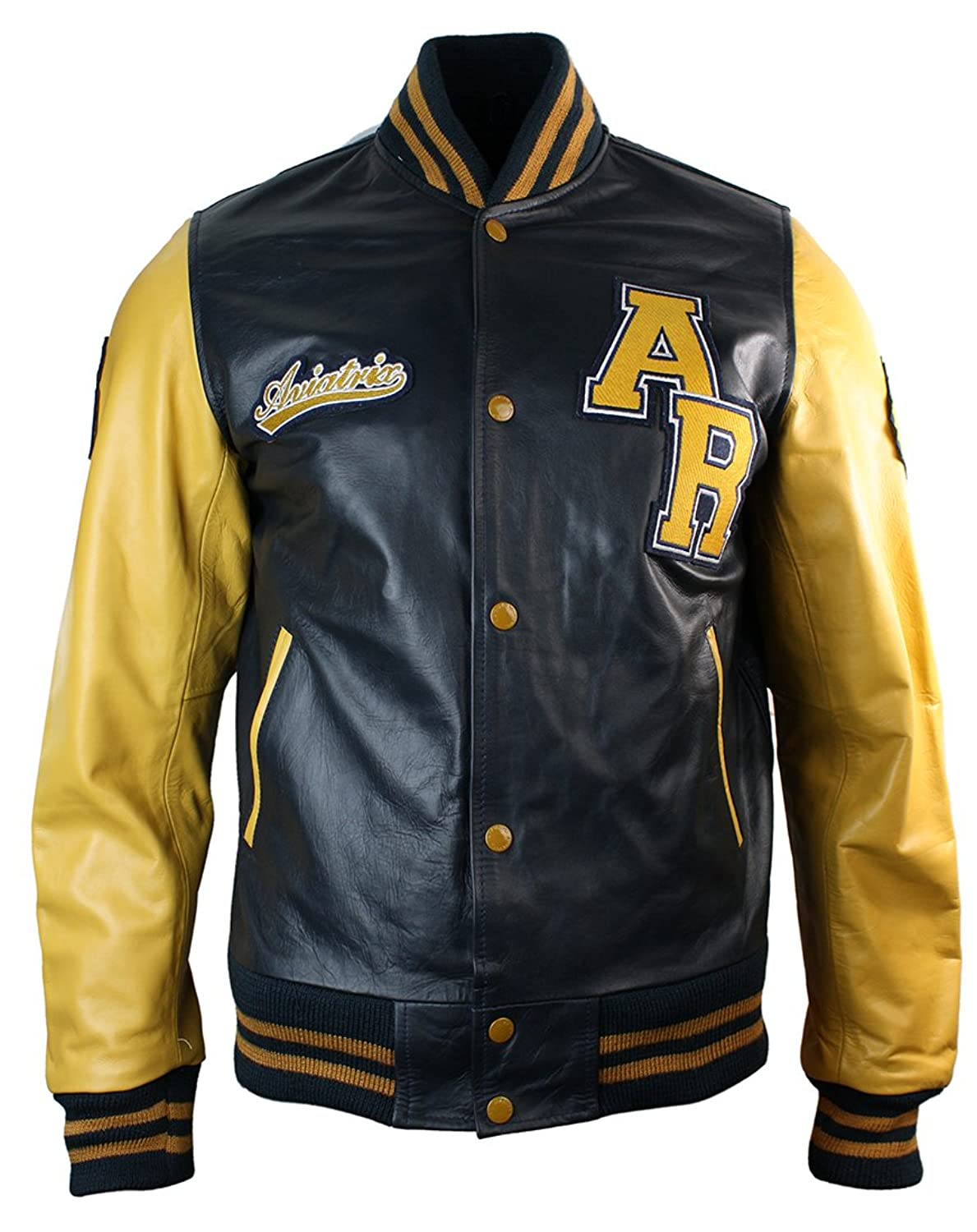 Mens Real Leather Varsity Jacket / Blue & Yellow / Baseball Style ...