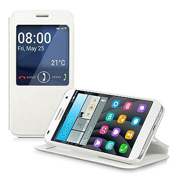 kwmobile Funda para Huawei Ascend G7 - Carcasa de [Cuero sintético] con [Ventana] - Case Protector en [Blanco]