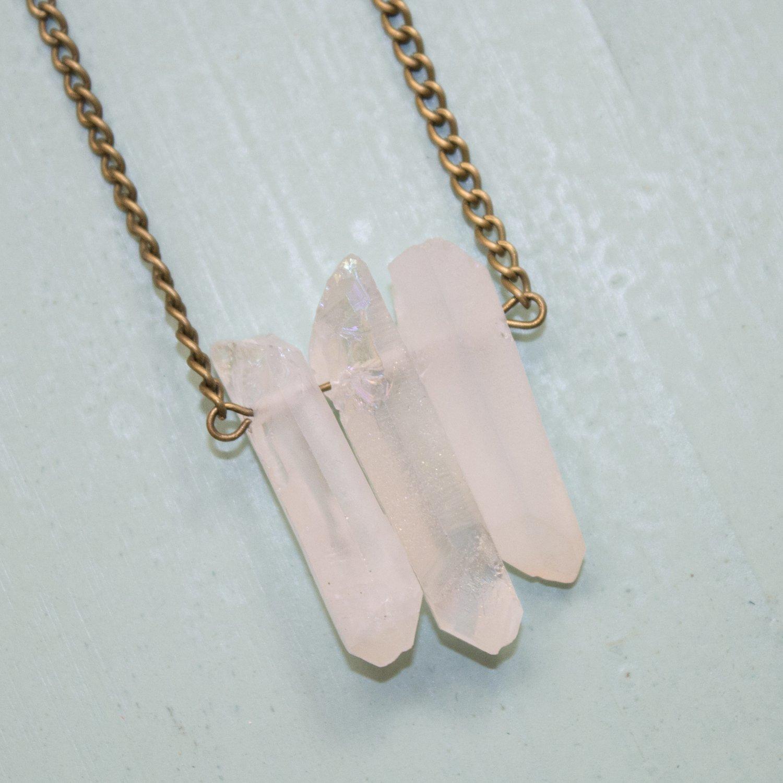Multicolor Aura Quartz Necklace  Chakras Quartz Jewelry For Sensitive Skin  Point Beads Stone Necklace  Crystal Jewelry CO112