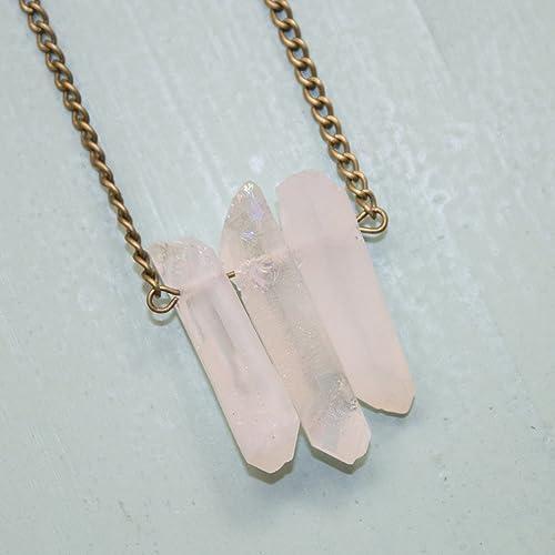 Quartz Crystal Necklace Rock Quartz Crystal Necklace Crown Chakra Crystal Jewelry Quartz Stone Jewelry Crystal Healing Necklace