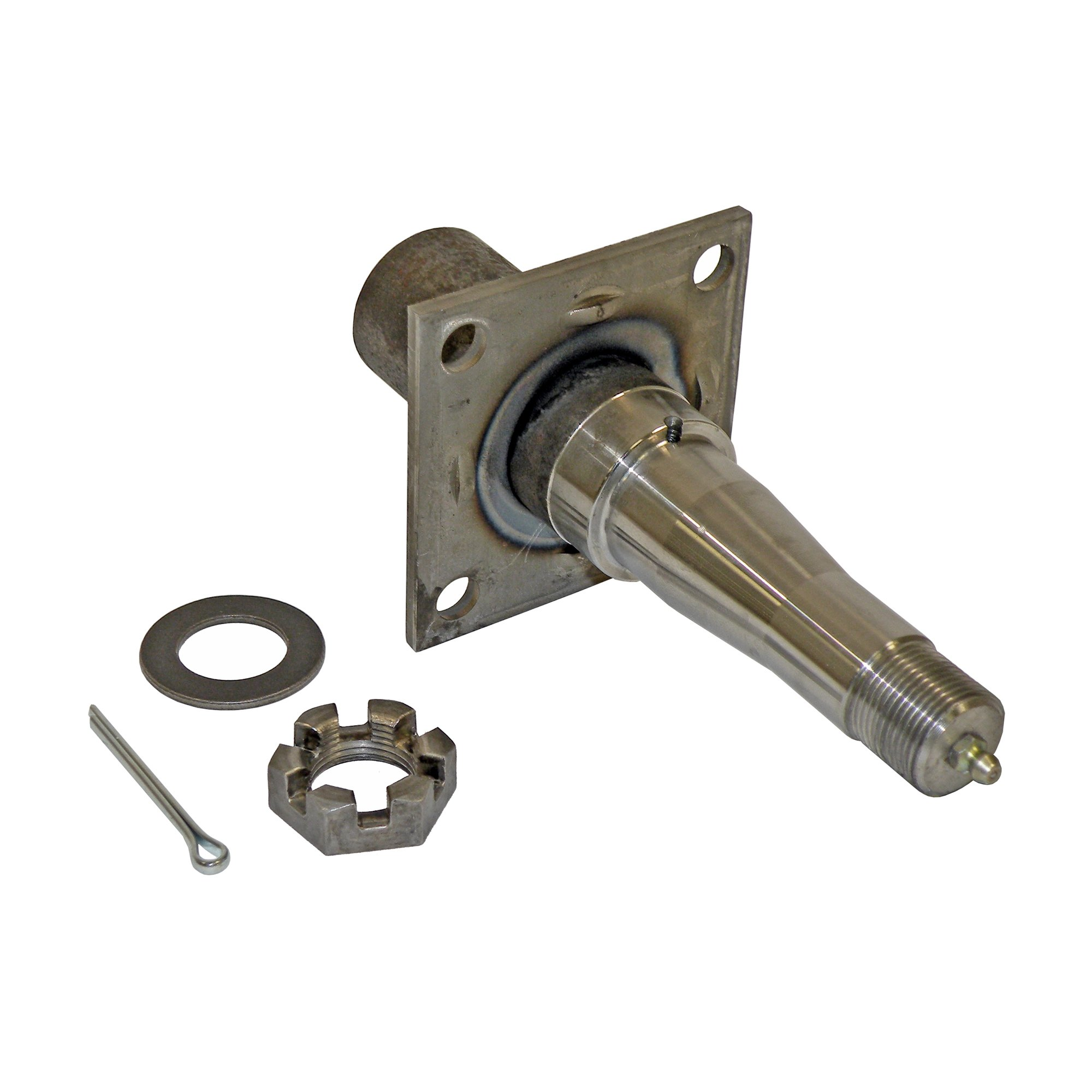 Round Stock - Trailer Axle Spindle With 4-Hole Flange - 1-3/8 Inch to 1-1/16 Inch I.D Bearings by Rigid Hitch